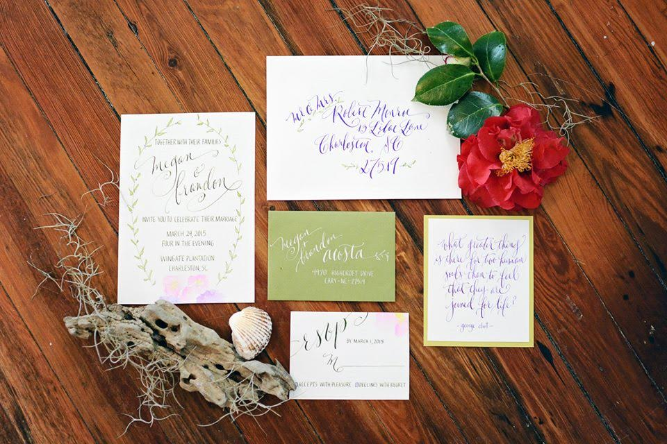 A collage of a wedding invitation suite done in calligraphy.