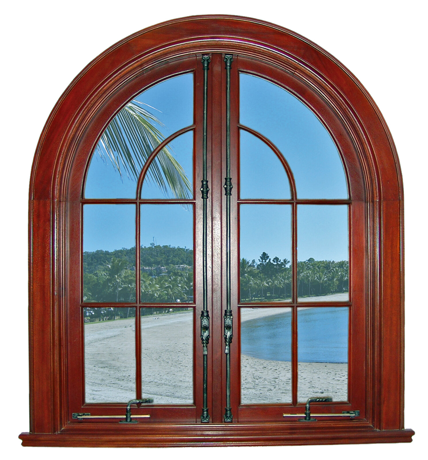 DAVINCI ARCHED MAHOGANY WINDOWS