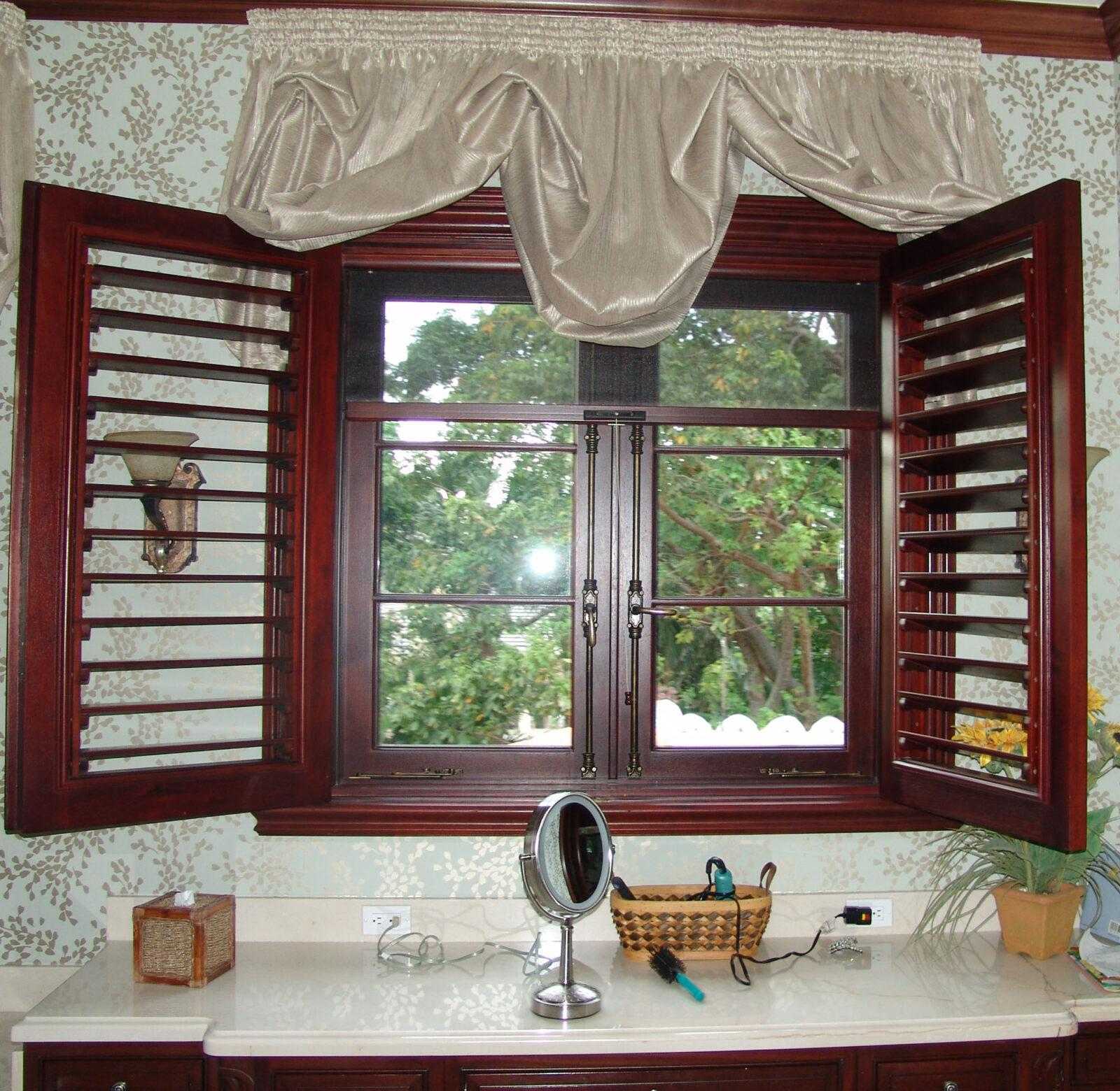 JUPITER MAHOGANY WINDOWS WITH BAHAMA SHUTTERS
