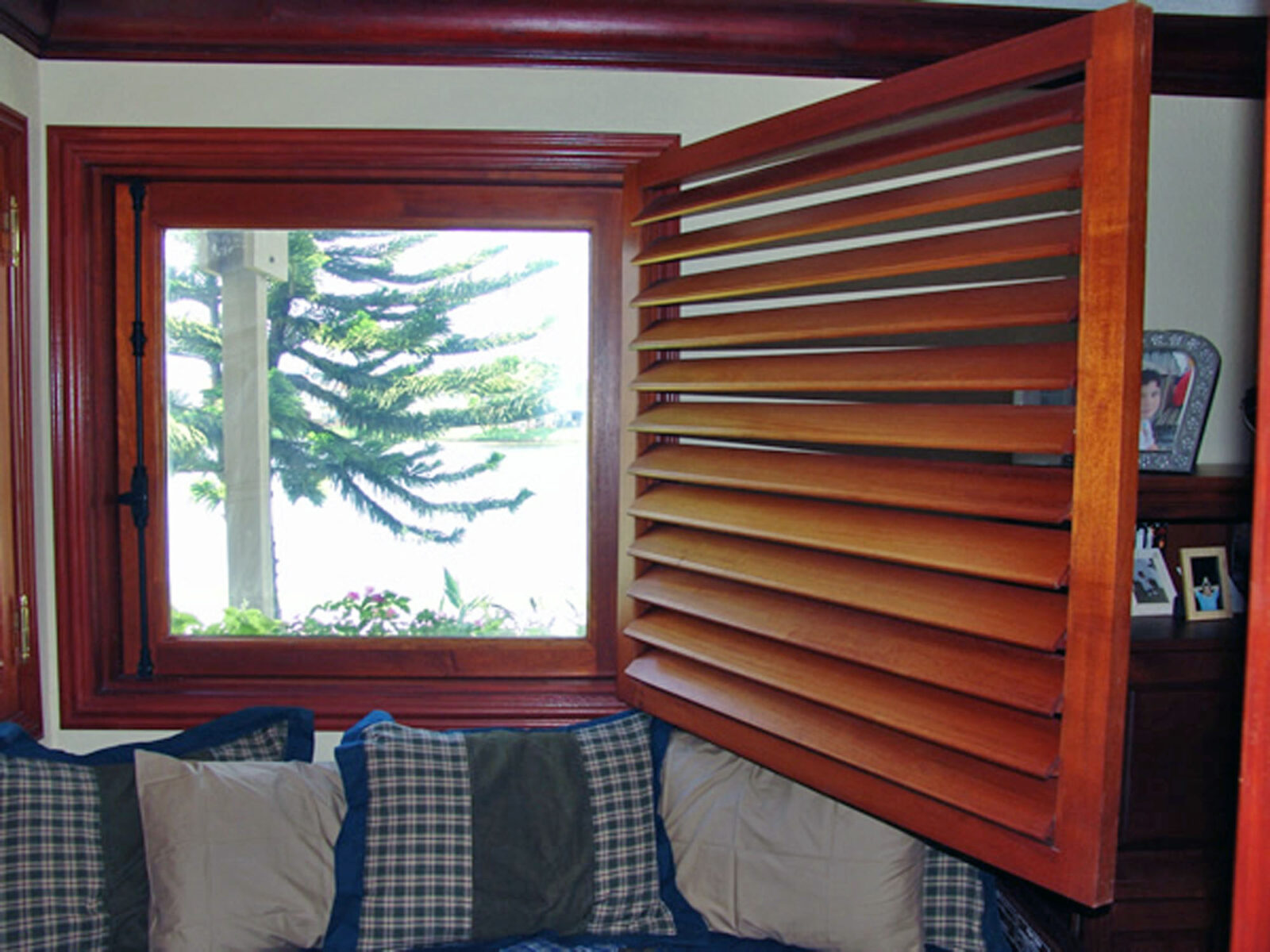 LAKE HOUSE MAHOGANY SHUTTERED CASEMENT