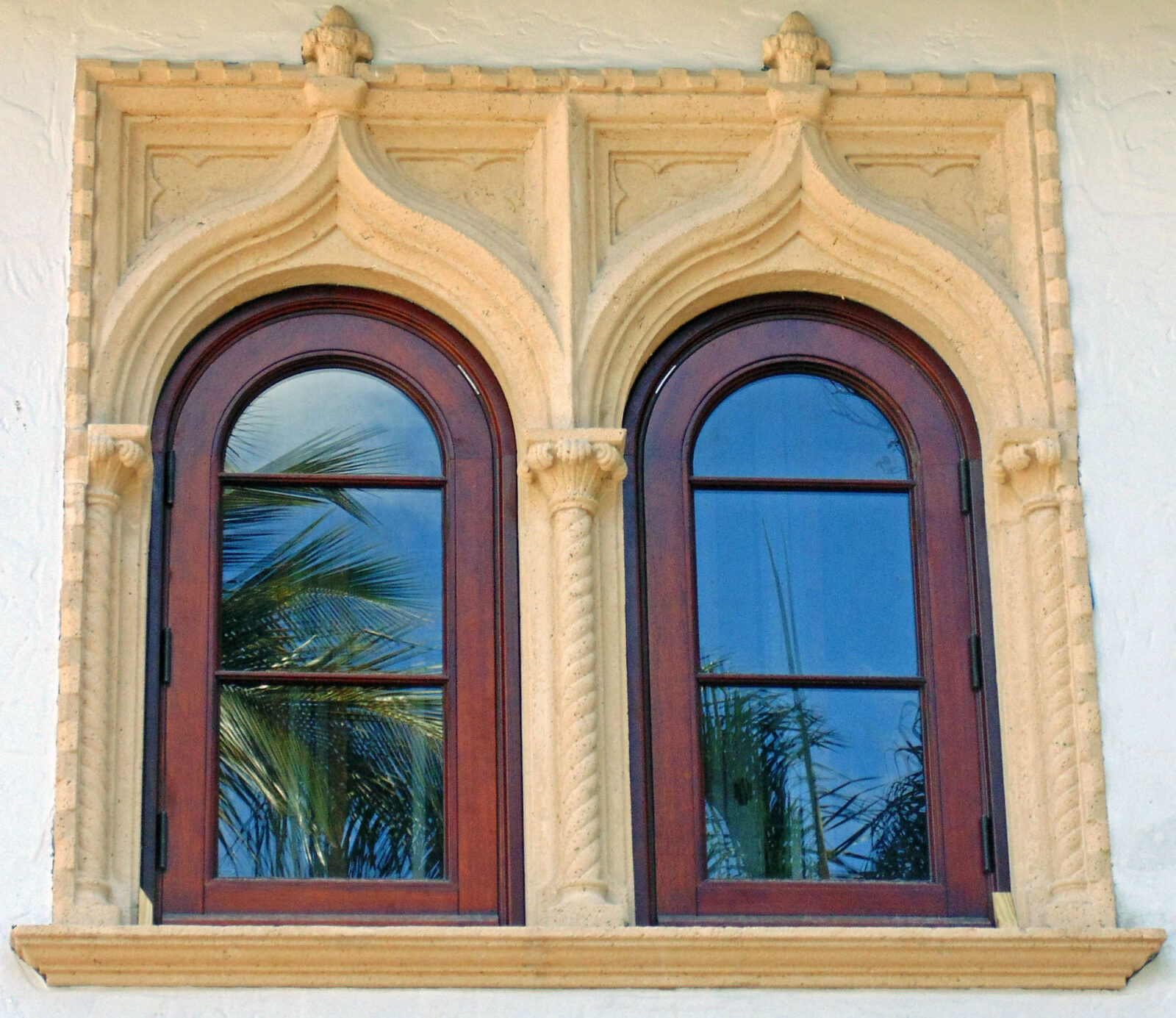 PALM ISLAND MAHOGANY ARCHED WINDOWS