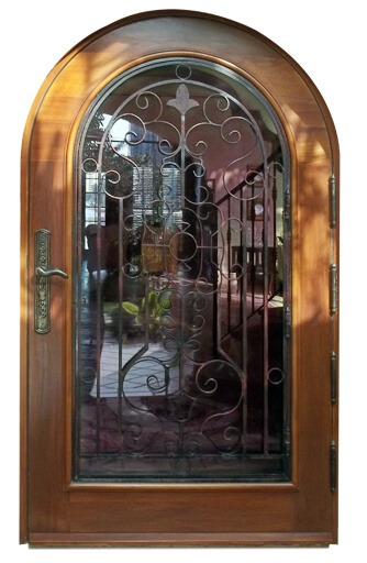 Golden Beach Mahogany Grilled Entry Door