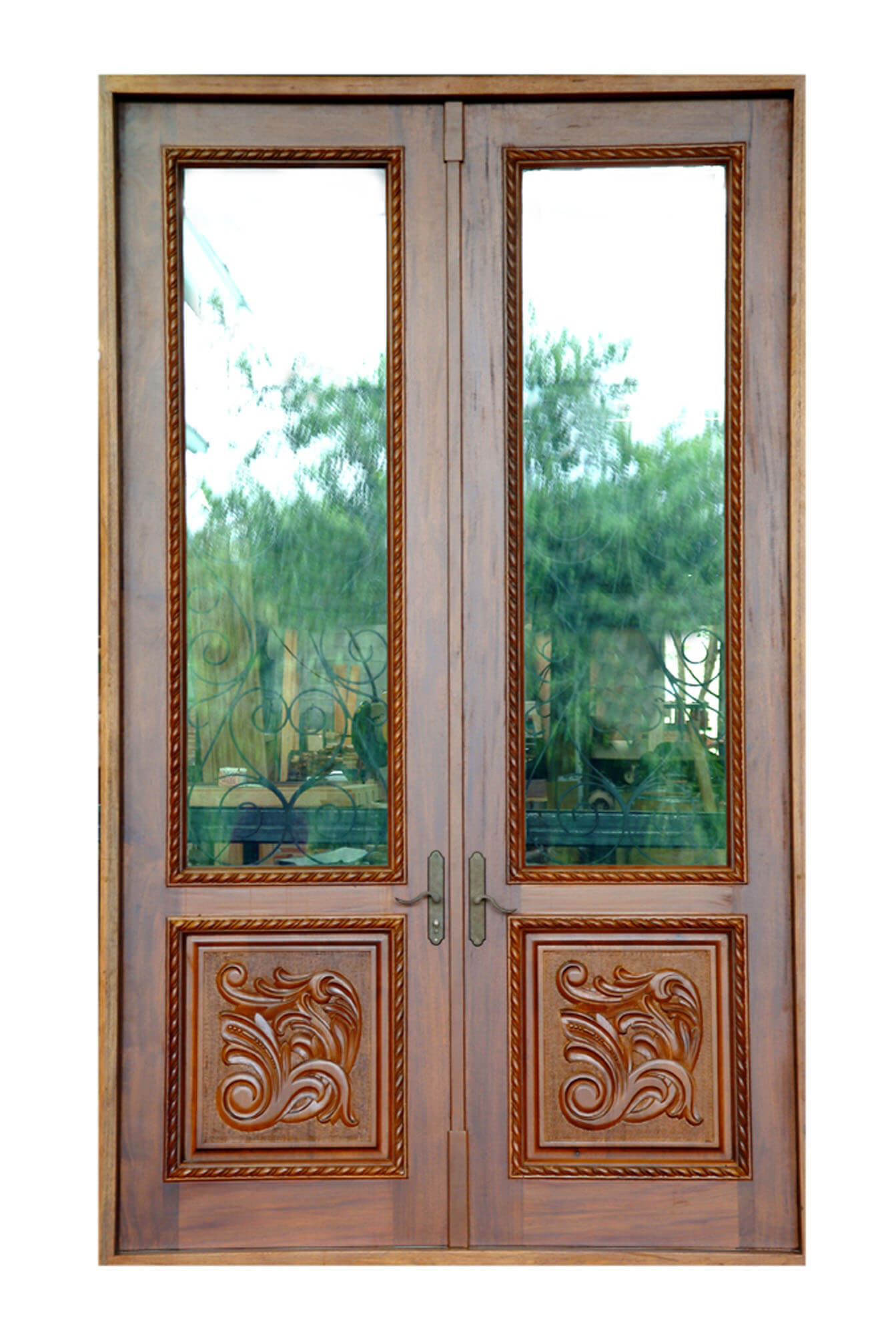 Miami Impact Mahogany Grilled Door