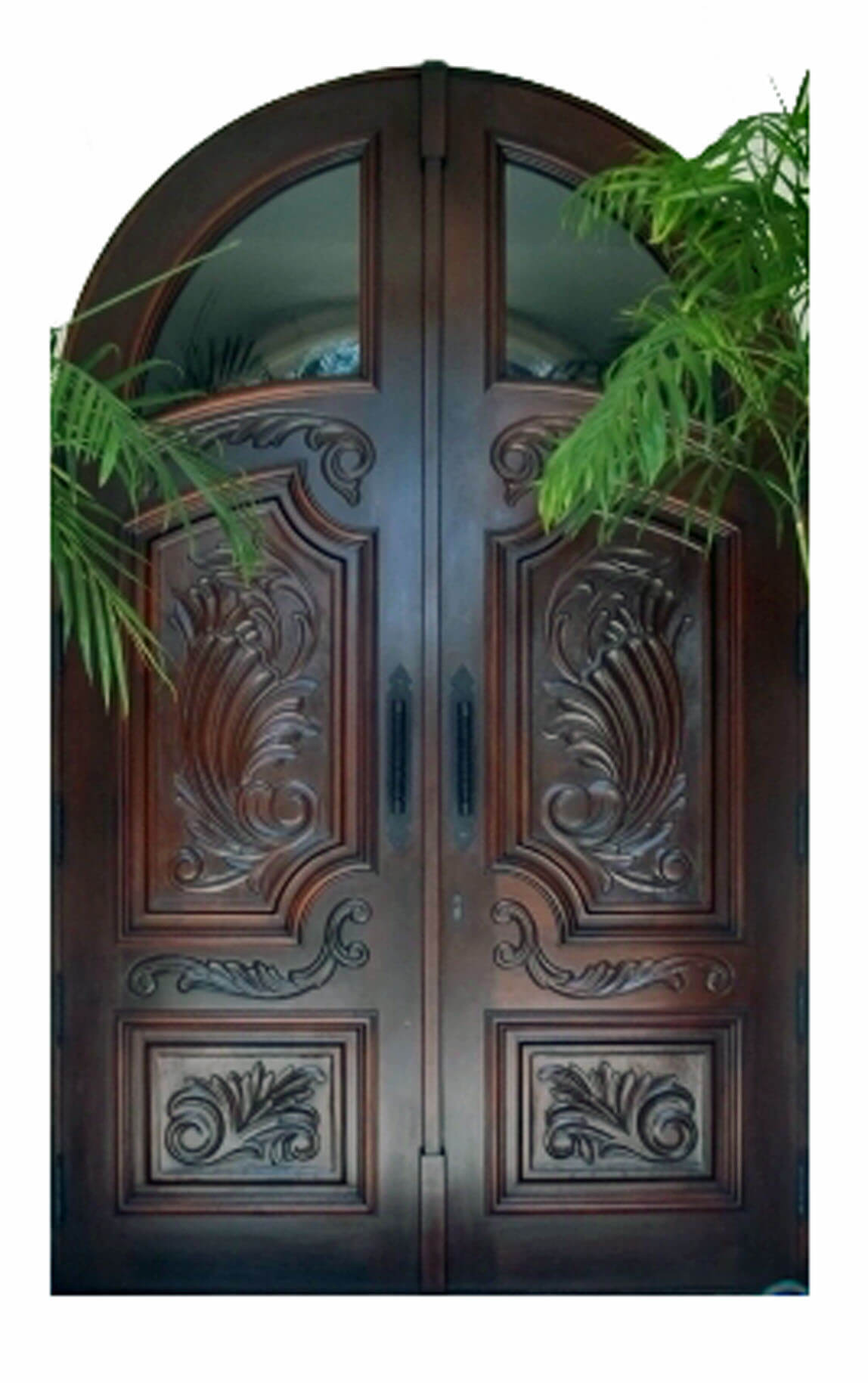 California Mahogany Carved Exterior Door