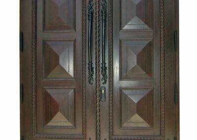 COCONUT GREEK. MAHOGANY FRONT DOOR.