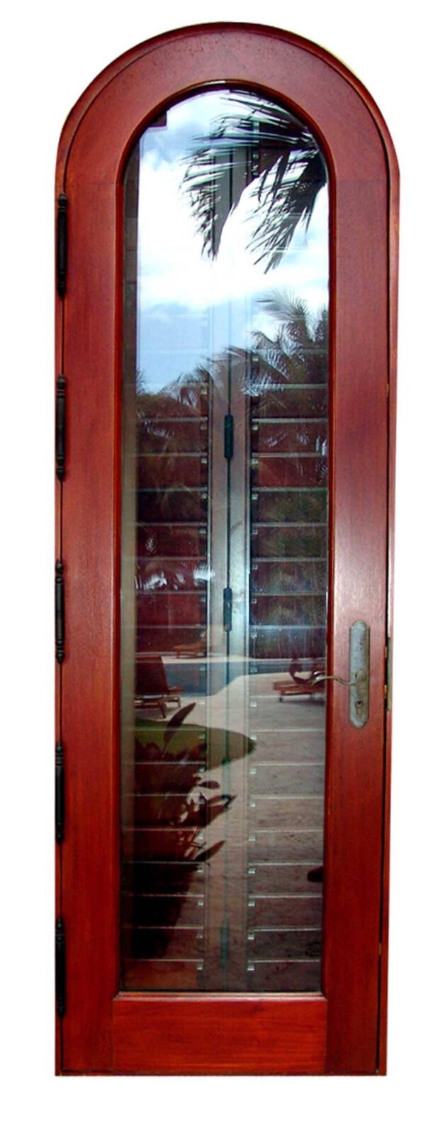 SUNSET ISLAND MAHOGANY ARCHED FRENCH DOOR.