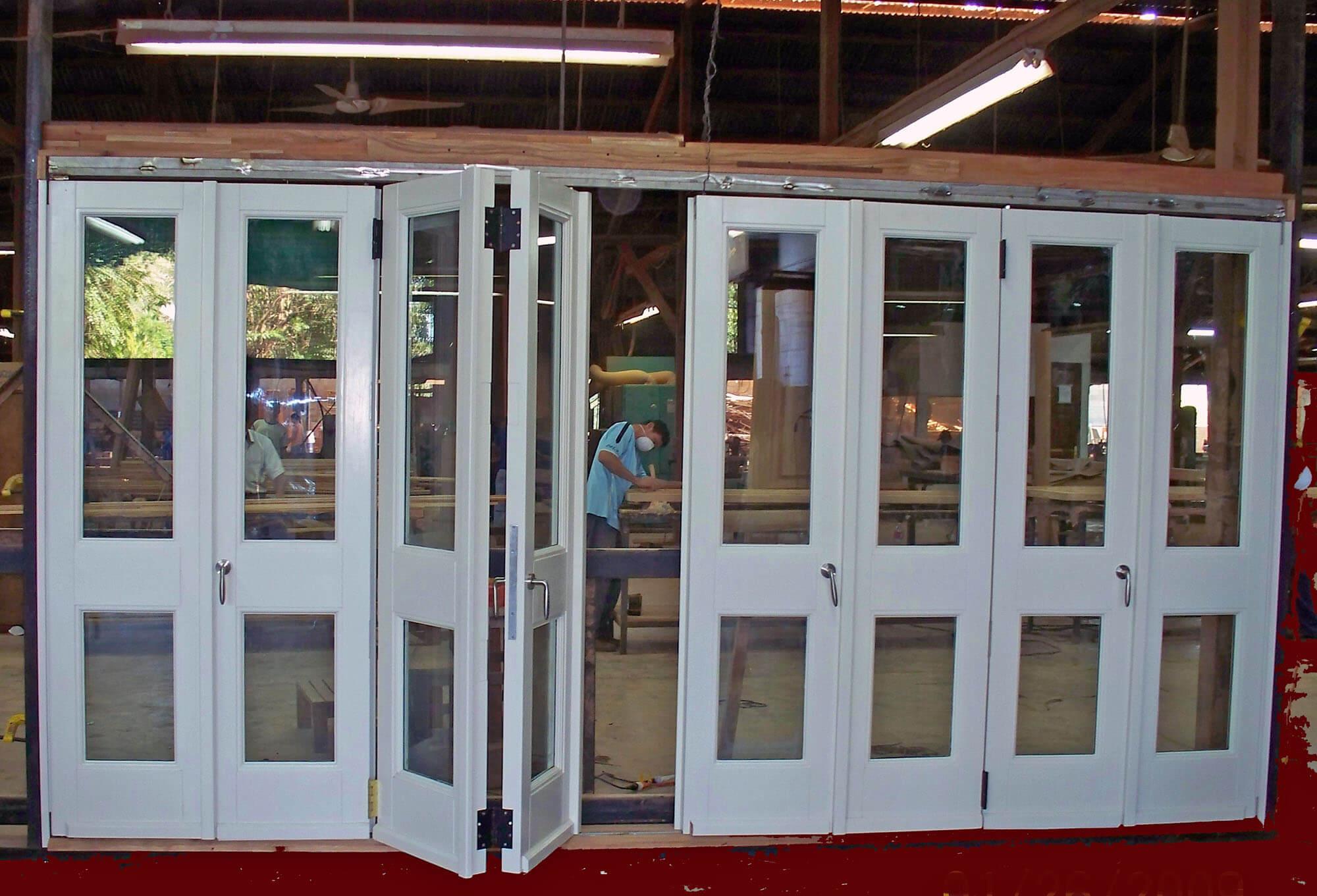 BARBADOS FOLDING MAHOGANY DOORS.