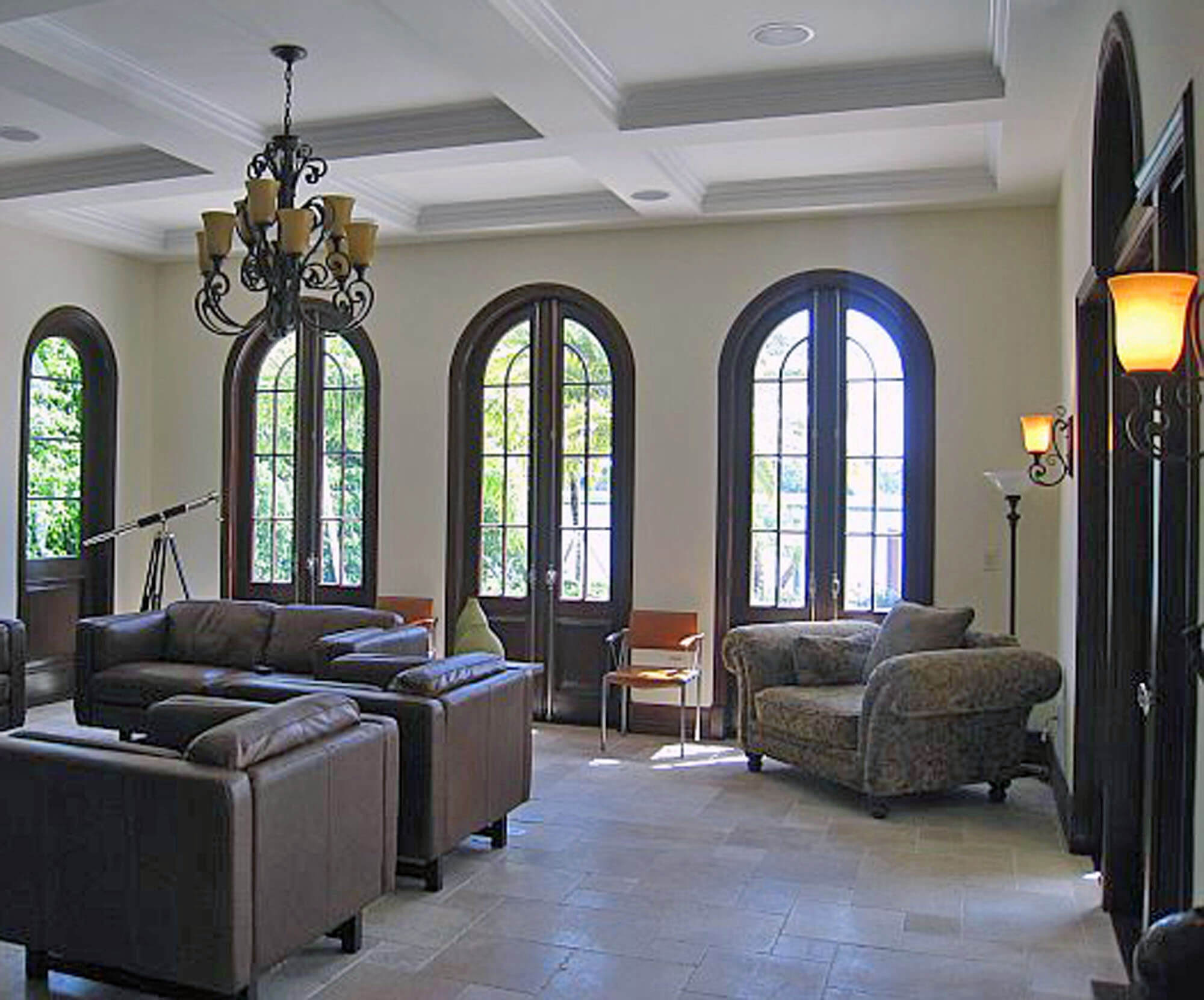 BAL HARBOUR MAHOGANY ARCHED FRENCH DOORS.