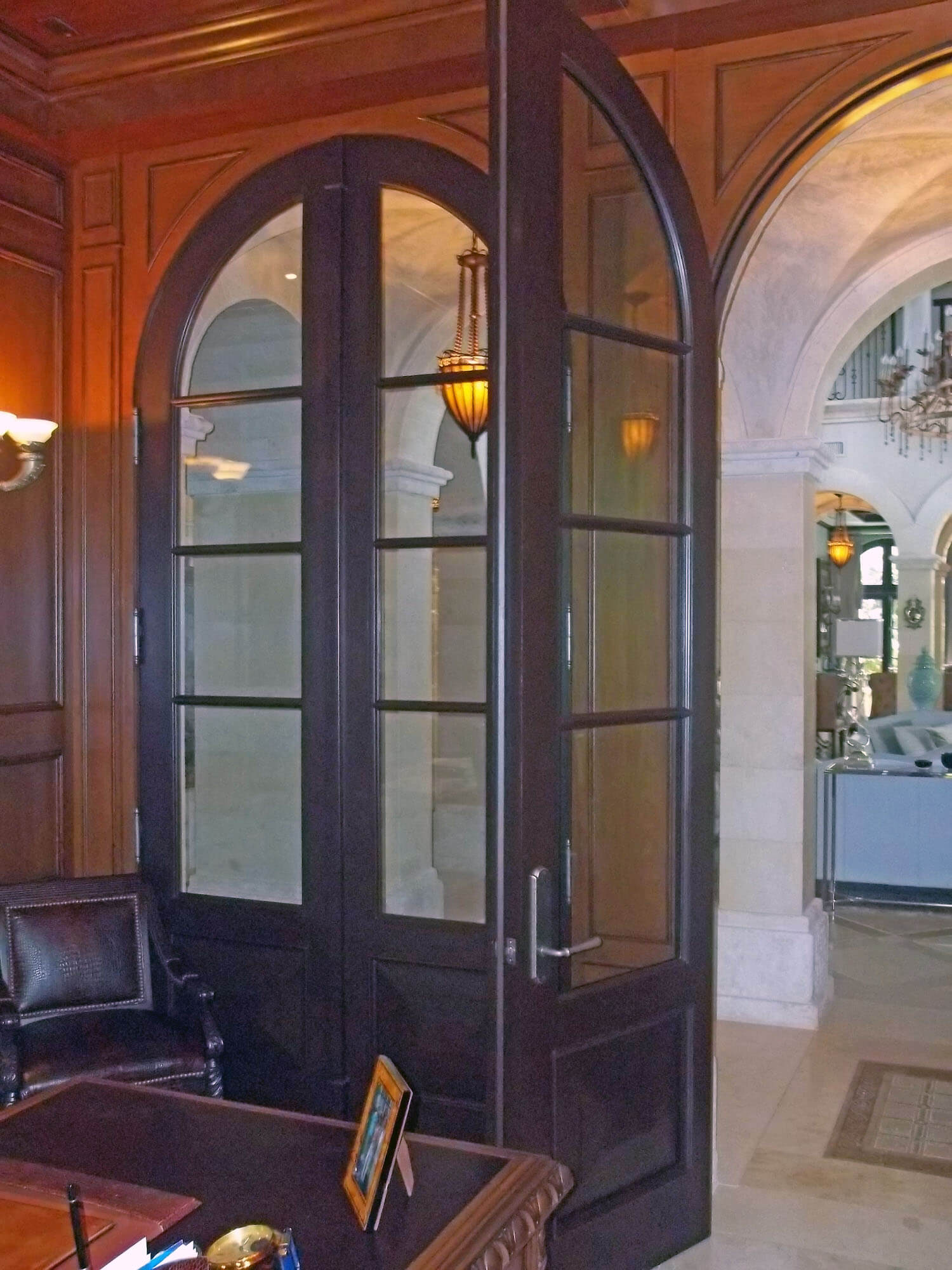 PALM ISLAND MAHOGANY FRENCH DOORS.