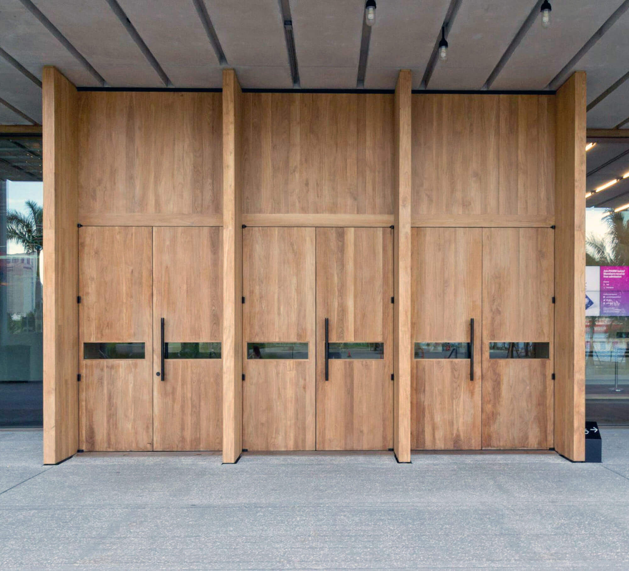TEAK ENTRY DOORS. MIAMI PEREZ ART MUSEUM