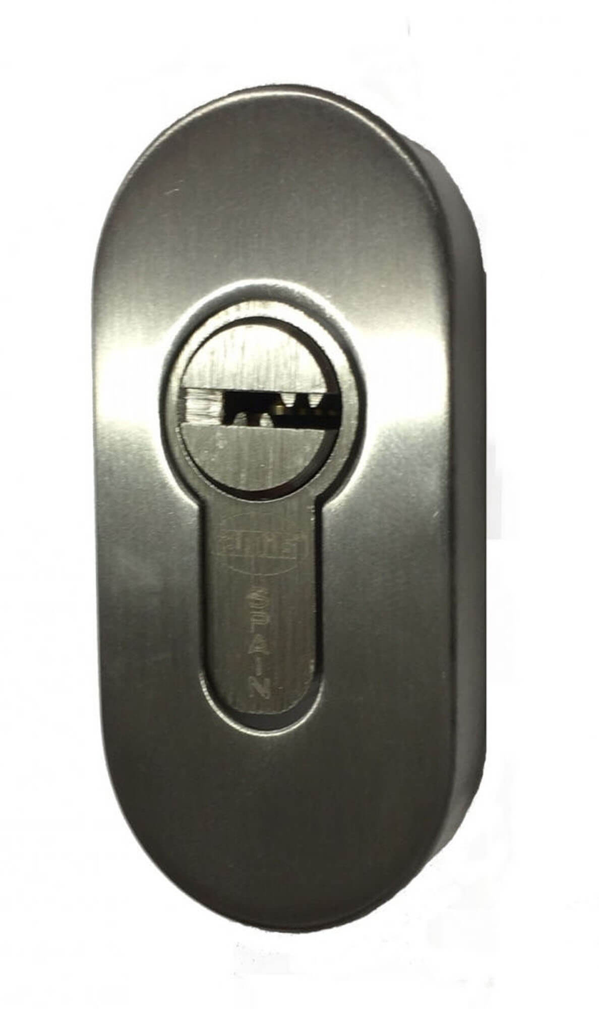 STAINLESS STEEL OVAL KEY ESCUTCHEON.