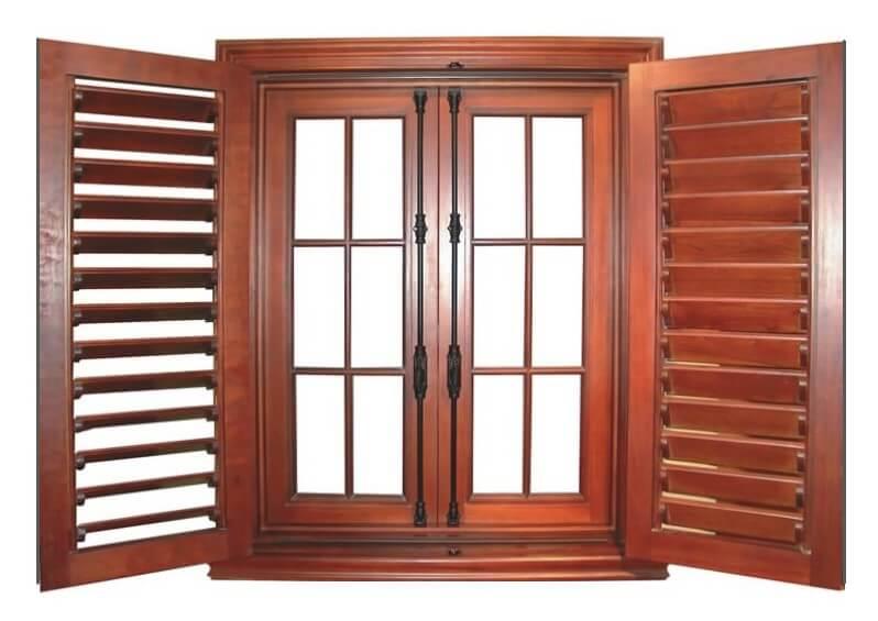 LAKE HOUSE DOUBLE WINDOWS WITH TRUE BAHAMIAN SHUTTERS