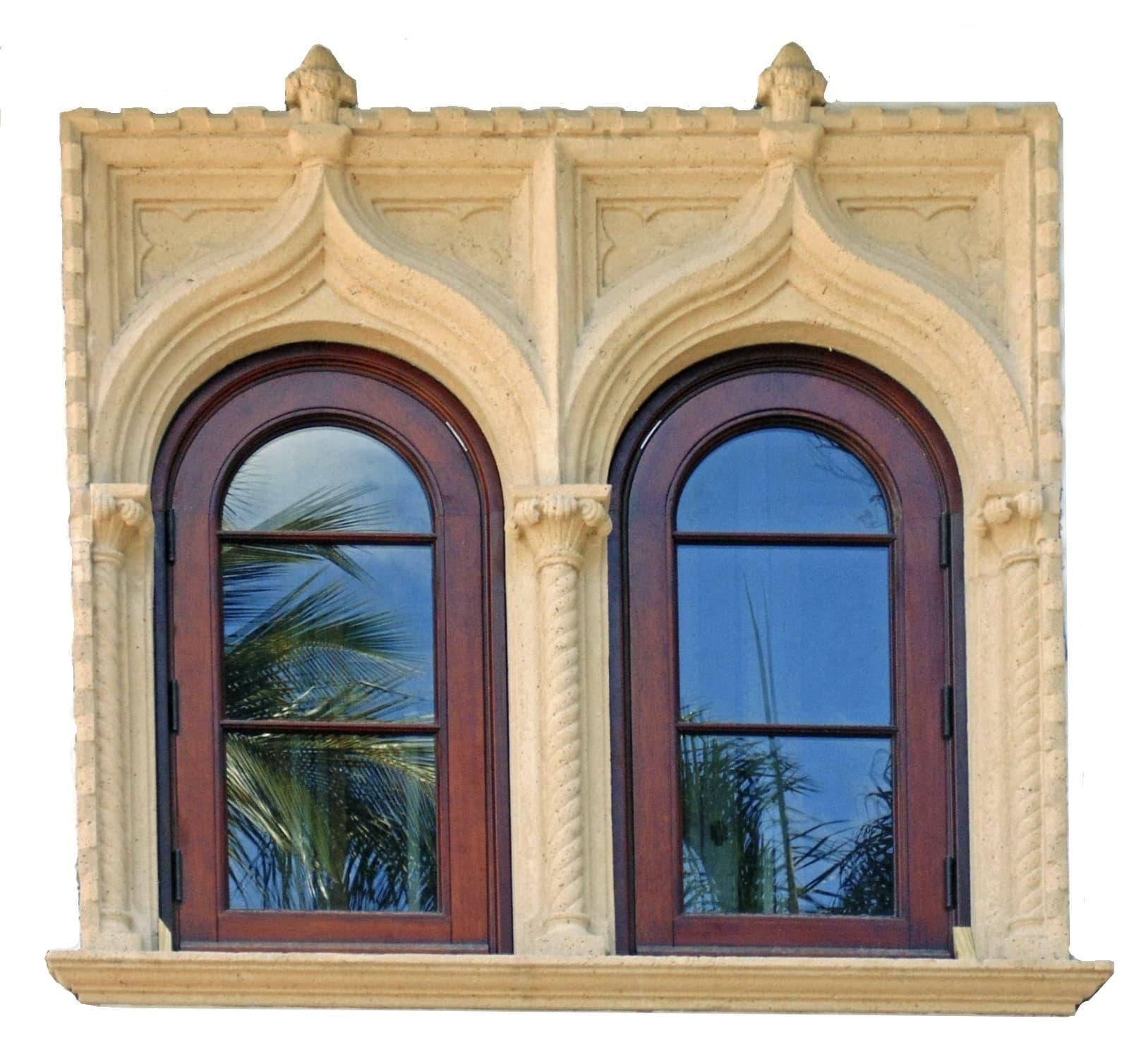 PALM ISLAND MAHOGANY ARCHED WINDOWS