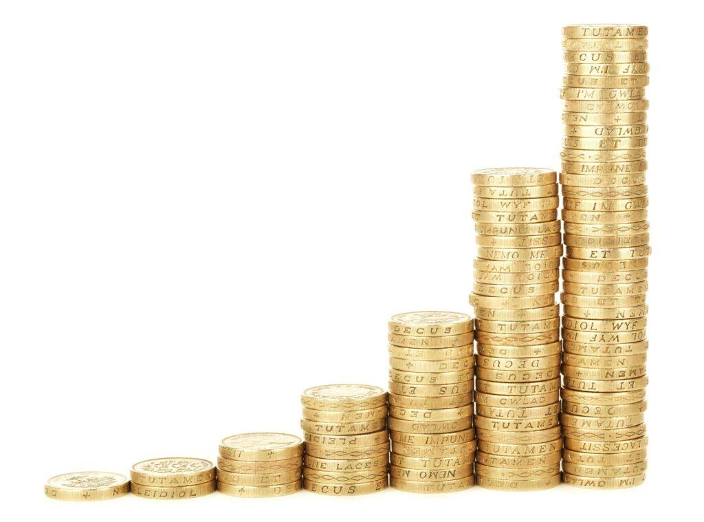 Cash coins stack