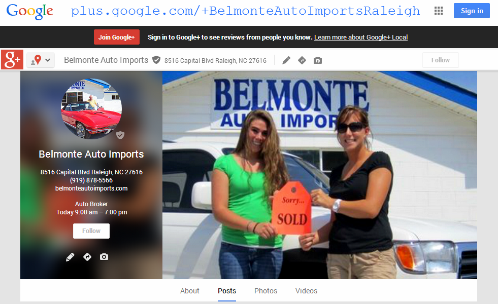 Click to visit Belmonte Auto Imports Google Plus Page | Google Ratings and Reviews