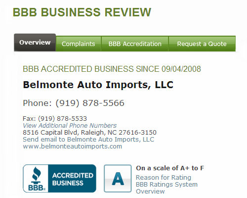 Belmonte Auto BBB Page A Rating