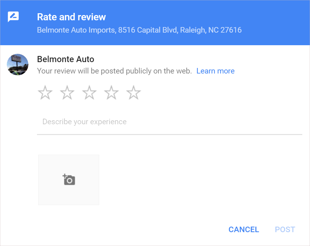 google rate and review box