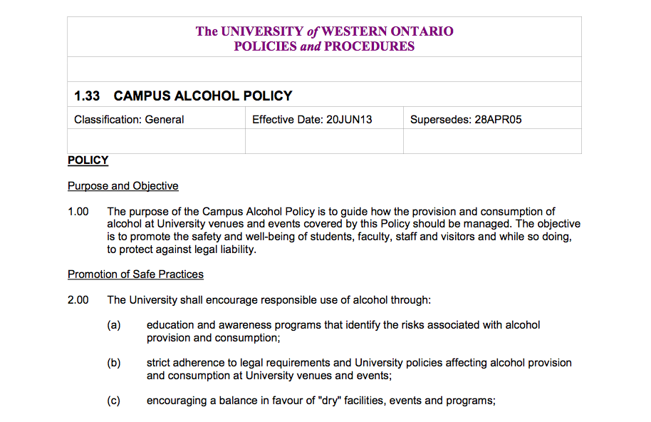 Campus Alcohol Policy