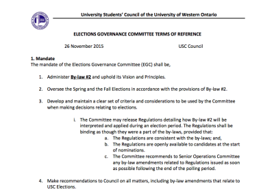Elections Governance Committee TOR