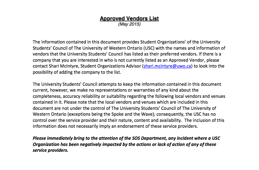 USC Approved Vendors List