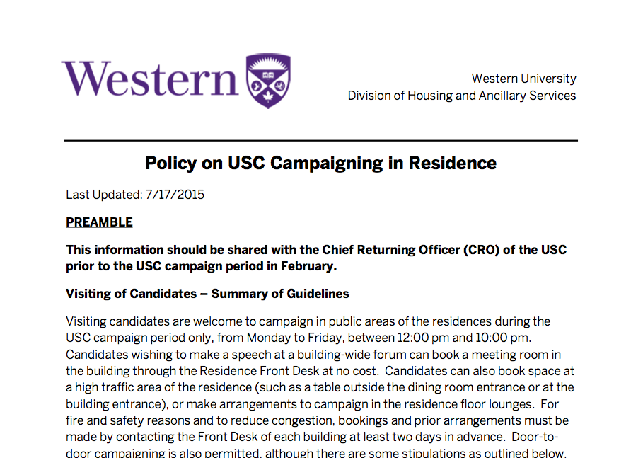 UWO Student Residence – Campaigning Rules
