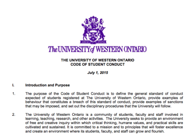UWO Code of Student Conduct