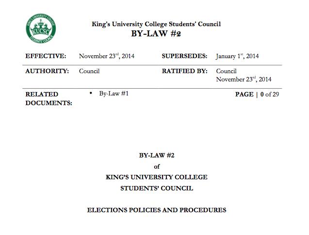 King's Elections Procedure