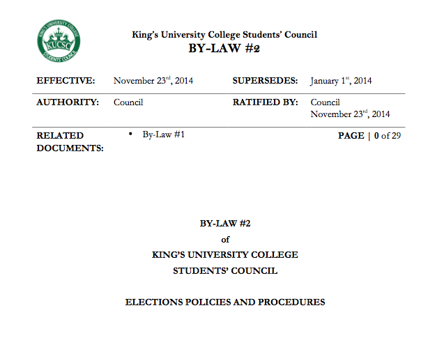 King's Elections Procedure