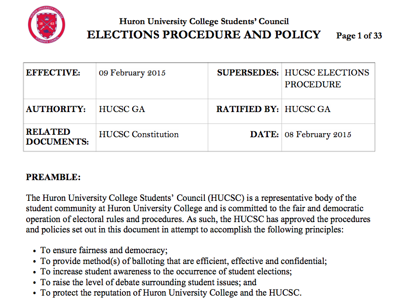 Huron's Elections Procedure