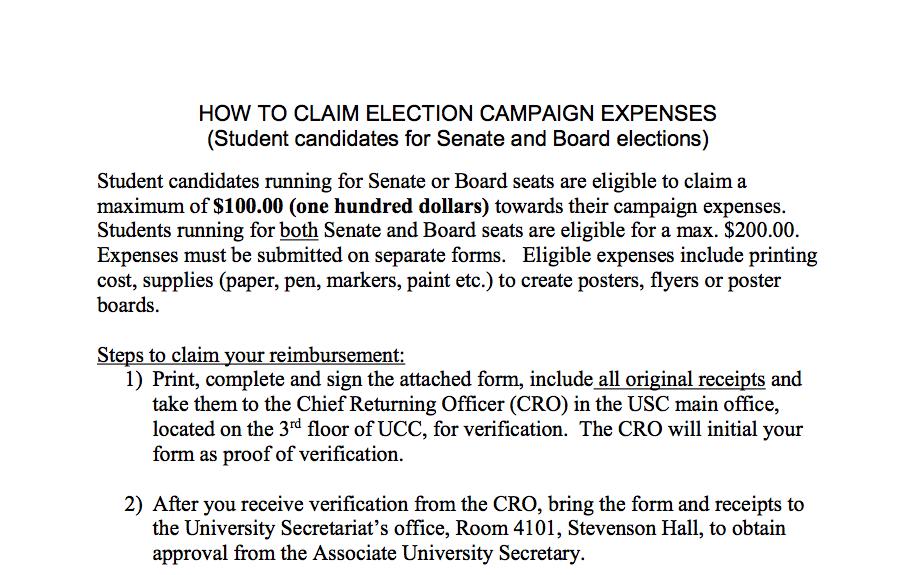 Senate & BOG Campaign Expense Tracking