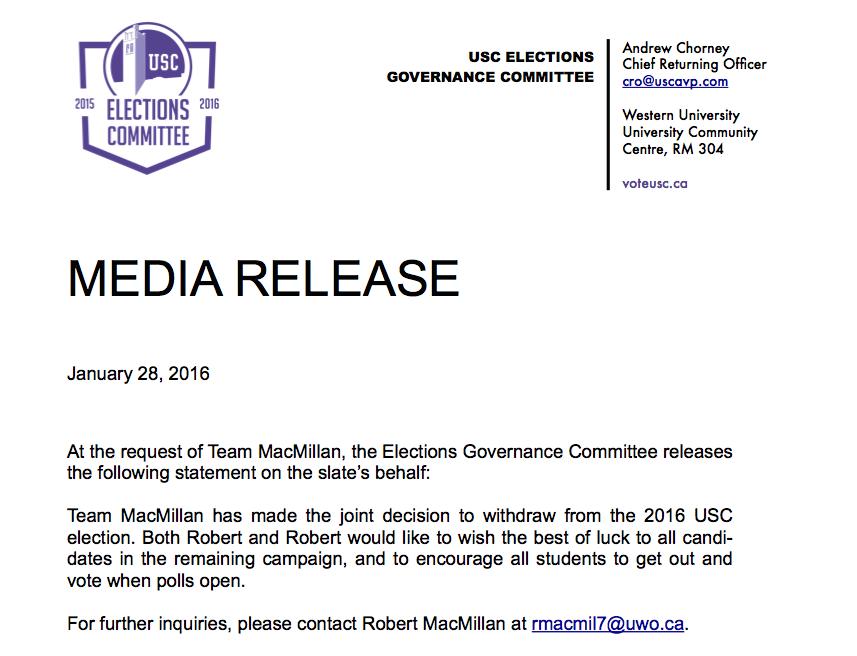 Team MacMillan Withdrawal