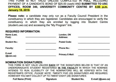 Faculty President Nomination 2019