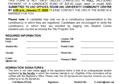 Councillor Nomination Form – 2020