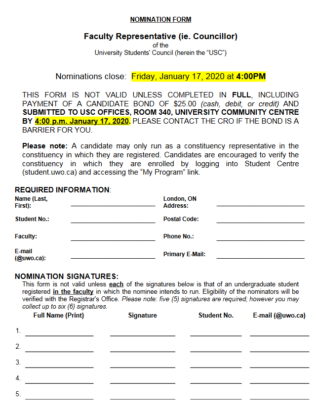 Councillor Nomination Form – 2020