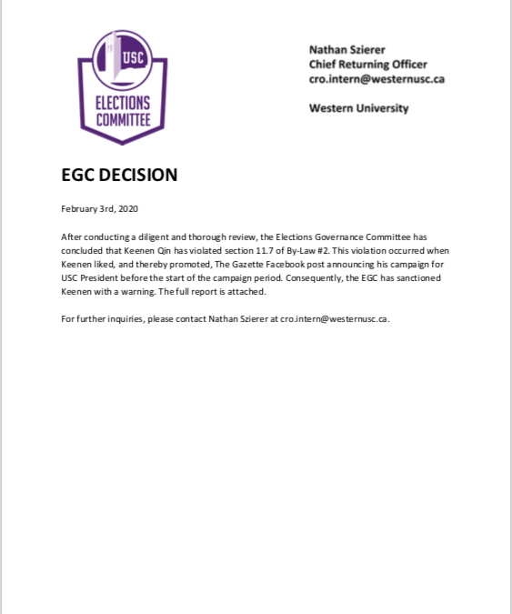 EGC Decision – Keenen Qin