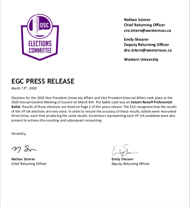 EGC Press Release – Vice Presidential Results 2020