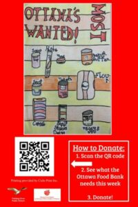Red poster with hand drawn pictures of non perishable food items.