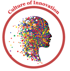 Image of a head with the words culture of innovation written around the top.