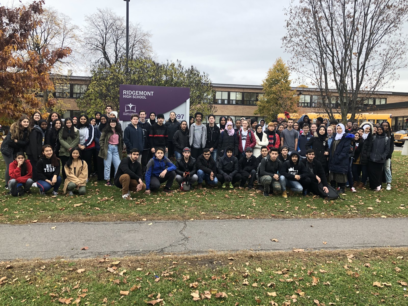 Group of students from Ridgemont pictured in front of the school