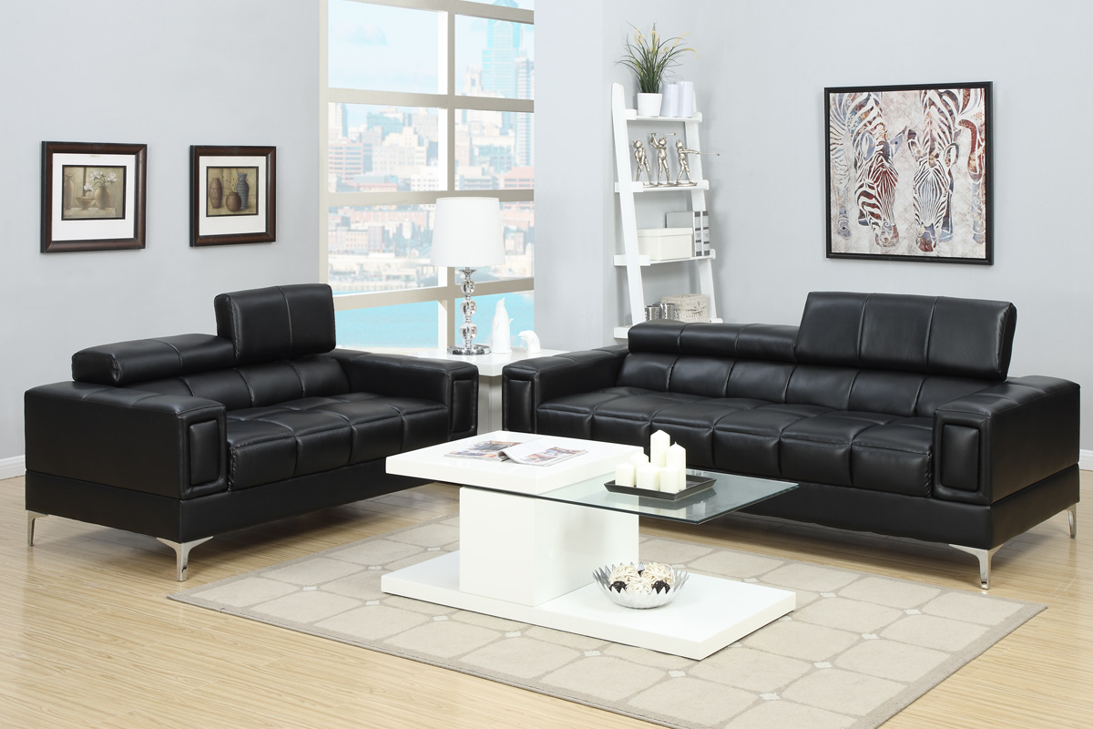 2-PCS Black Bonded Leather Sofa Set
