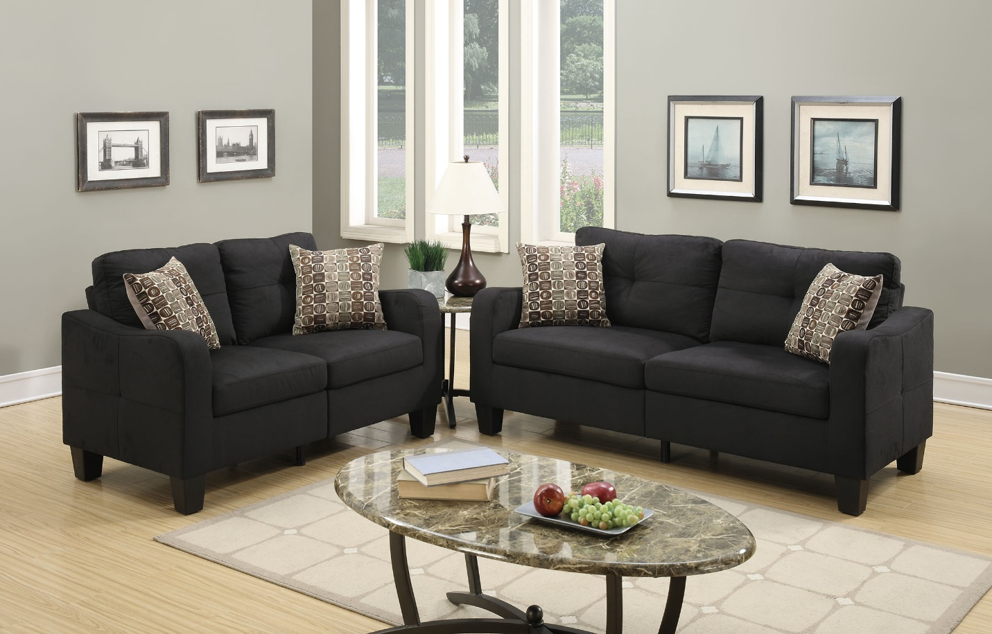 Black Polyfiber 2-pcs Sofa Set
