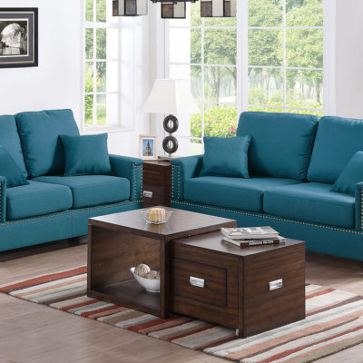 Fabulous Teal Polyfiber 2 Pcs Sofa Set Rooms By Les Inzonedesignstudio Interior Chair Design Inzonedesignstudiocom