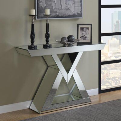 Console Table With U-Shaped Base Clear Mirror