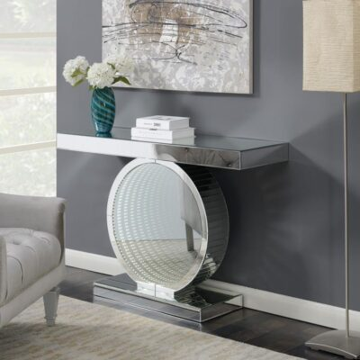Circular Contemporary Silver - Console Table