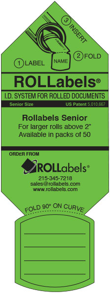 Blueprint ID tags - green senior label