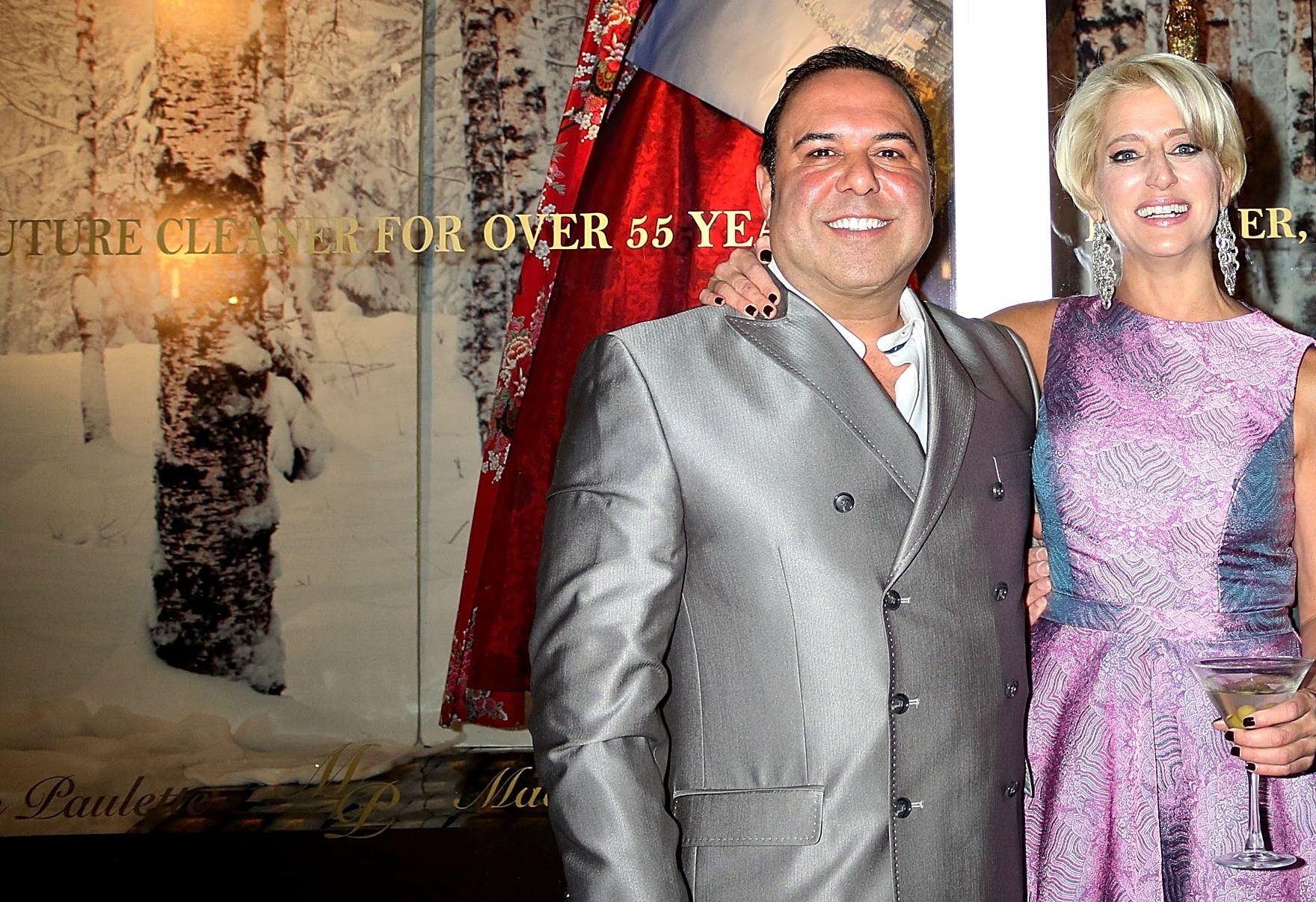 John Mahdessian with Dorinda Medley at Malan Breton Couture Collection Unveiling Hosted by Medley at Madame Paulette on December 8, 2015 in New York City.