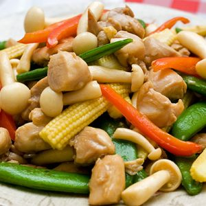 Thai Food Baby Corn with Meat or Veggie Option.