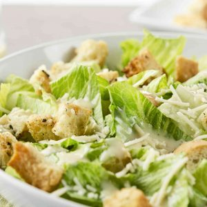 Fresh and simple Caesar salad.