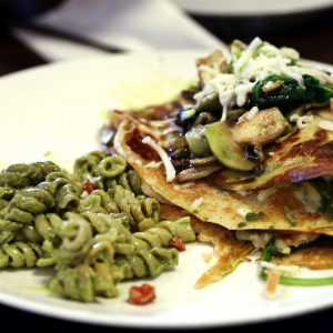 One of the most popular dishes at Le Moose Crepe Cafe. Chicken Pesto