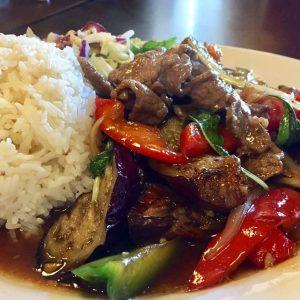 Thai food popular dish eggplant.